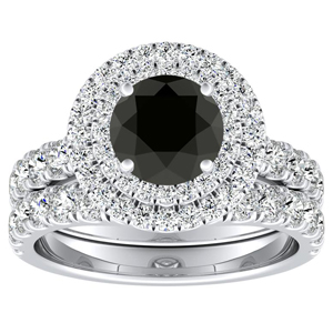 KYLIE Double Halo Black Diamond Wedding Ring Set In 14K White Gold With 0.50 Carat Round Diamond