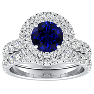 KYLIE Double Halo Blue Sapphire Wedding Ring Set In 14K White Gold With 0.30 Carat Round Stone
