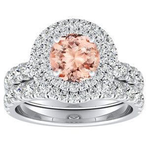 KYLIE Double Halo Morganite Wedding Ring Set In 14K White Gold With 1.00 Carat Round Stone