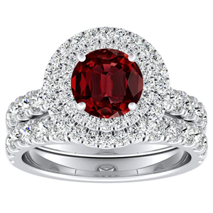 KYLIE Double Halo Ruby Wedding Ring Set In 14K White Gold With 0.30 Carat Round Stone