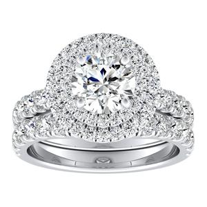 KYLIE Double Halo Diamond Wedding Ring Set In 14K White Gold