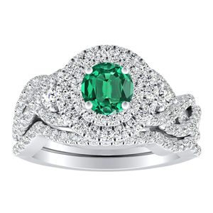 LAUREN Halo Green Emerald Wedding Ring Set In 14K White Gold With 0.30 Carat Round Stone