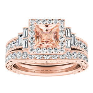 KAYLA Vintage Halo Morganite Wedding Ring Set In 14K Rose Gold With 1.00 Carat Princess Stone