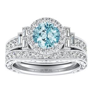KAYLA Vintage Halo Aquamarine Wedding Ring Set In 14K White Gold With 1.00 Carat Round Stone