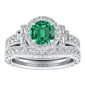 KAYLA Vintage Halo Green Emerald Wedding Ring Set In 14K White Gold With 0.30 Carat Round Stone