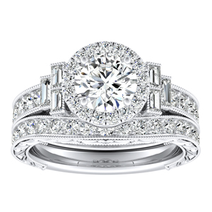 KAYLA Vintage Halo Diamond Wedding Ring Set In 14K White Gold