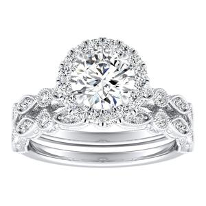 EMILIA Halo Diamond Wedding Ring Set In 14K White Gold