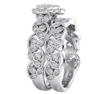 KIMBERLY Vintage Halo Diamond Wedding Ring Set In 14K White Gold ...