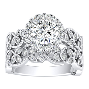 KIMBERLY Vintage Halo Diamond Wedding Ring Set In 14K White Gold