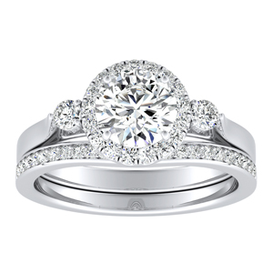 CLARA Halo Diamond Wedding Ring Set In 14K White Gold