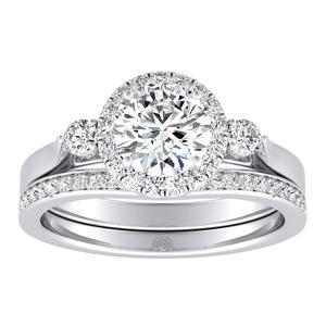 CLARA Halo Diamond Wedding Ring Set In 14K White Gold