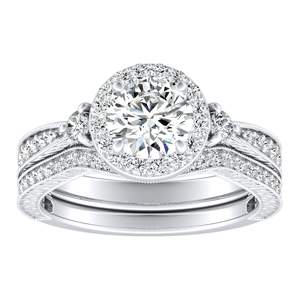 SARAH Halo Diamond Wedding Ring Set In 14K White Gold