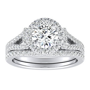 KAYLEE Halo Diamond Wedding Ring Set In 14K White Gold