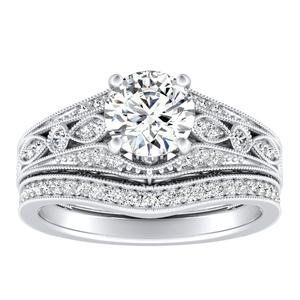 ALEXANDRA Vintage Diamond Wedding Ring Set In 14K White Gold
