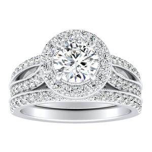 GIANNA Halo Diamond Wedding Ring Set In 14K White Gold