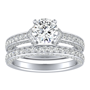ANNA Diamond Wedding Ring Set In 14K White Gold