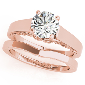 Eliza Solitaire Diamond Engagement Ring with Wedding Ring in 14K Rose Gold