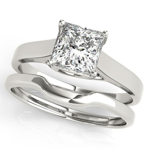 Elixir Solitaire Diamond Engagement Ring with Wedding Ring in 14K White Gold
