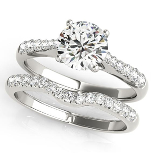 Cher Diamond Engagement Ring with Wedding Ring in 14K White Gold