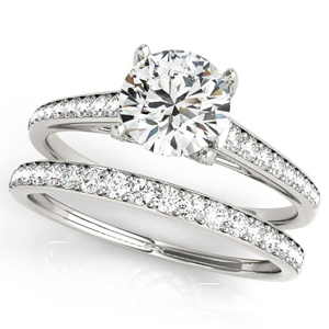 Olivia Diamond Engagement Ring with Wedding Ring in 14K White Gold