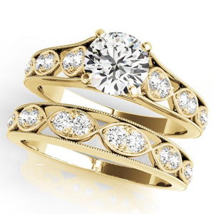 Gila Vintage Diamond Engagement Ring with Wedding Ring in 14K Yellow Gold
