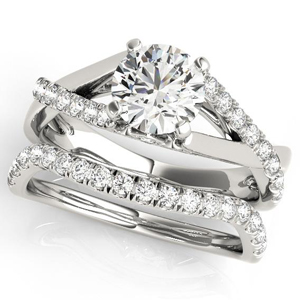 Dahlia Modern Diamond Engagement Ring with Wedding Ring in 14K White gold