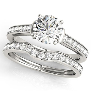 Charlene Diamond Engagement Ring with Wedding Ring in 14K White gold
