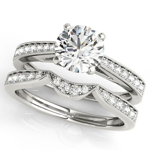 Peony Diamond Engagement Ring with Wedding Ring in 14K White Gold