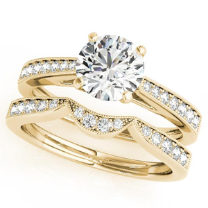 Peony Diamond Engagement Ring with Wedding Ring in 14K Yellow Gold
