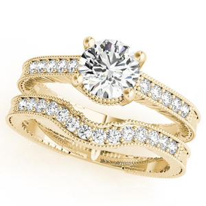 Sabrina Diamond Engagement Ring with Wedding Ring in 14K White Gold
