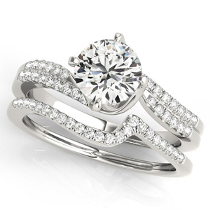 Esla Modern Diamond Engagement Ring with Wedding Ring in 14K White Gold