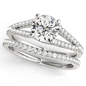 Prim Modern Diamond Engagement Ring with Wedding Ring in 14K White Gold