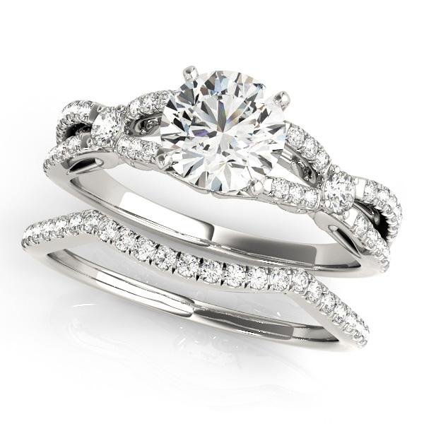 Jolie Modern Diamond Engagement Ring with Wedding Ring in 14K White Gold