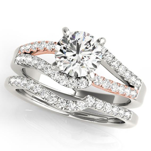 Sylvie Modern Diamond Engagement Ring with Wedding Ring in 14K White and Rose Gold