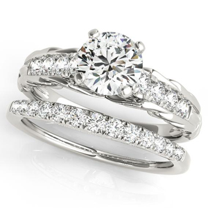 Emma Vintage Diamond Engagement Ring with Wedding Ring in 14K White Gold