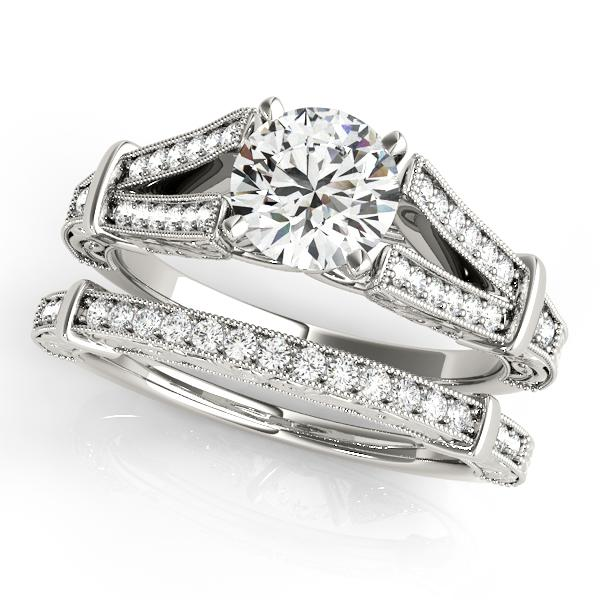 Alicia Vintage Diamond Engagement Ring with Wedding Ring in 14K White Gold