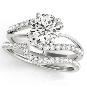 Evelyn Modern Diamond Engagement Ring with Wedding Ring in 14K White Gold