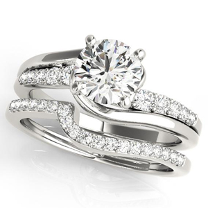 Lucy Modern Diamond Engagement Ring with Wedding Ring in 14K White Gold