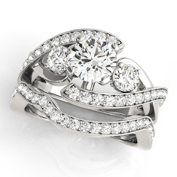 Eliana Modern Diamond Engagement Ring with Wedding Ring in 14K White Gold