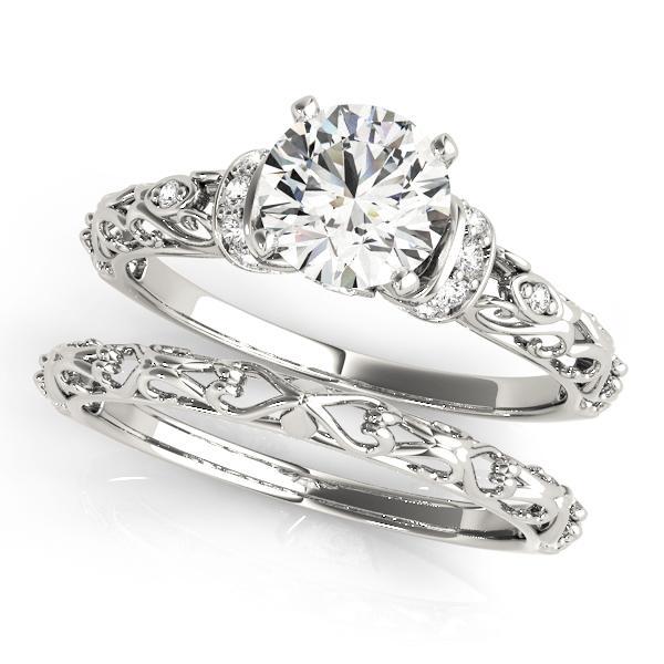 Adela Modern Diamond Engagement Ring with Wedding Ring in 14K White Gold