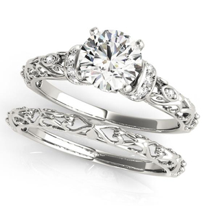 Adela Modern Diamond Engagement Ring with Wedding Ring in 14K White Gold