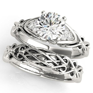 Bianca Vintage Diamond Engagement Ring with Wedding Ring in 14K White Gold