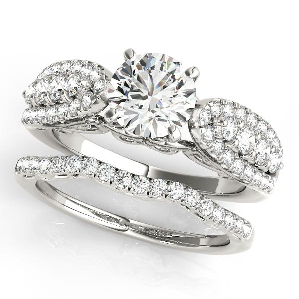Lillian Vintage Diamond Engagement Ring with Wedding Ring in 14K White Gold
