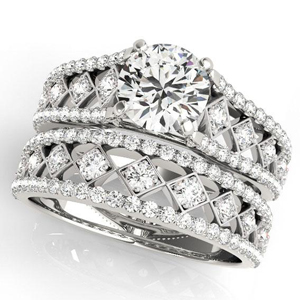 Claire Vintage Diamond Engagement Ring with Wedding Ring in 14K White Gold