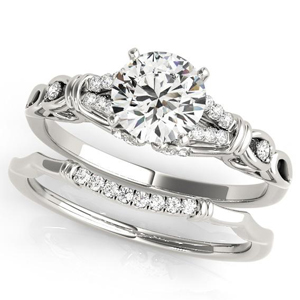 Leah Modern Diamond Engagement Ring with Wedding Ring in 14K White Gold