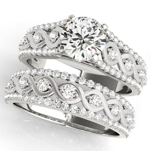 Hailey Diamond Engagement Ring with Wedding Ring in 14K White Gold