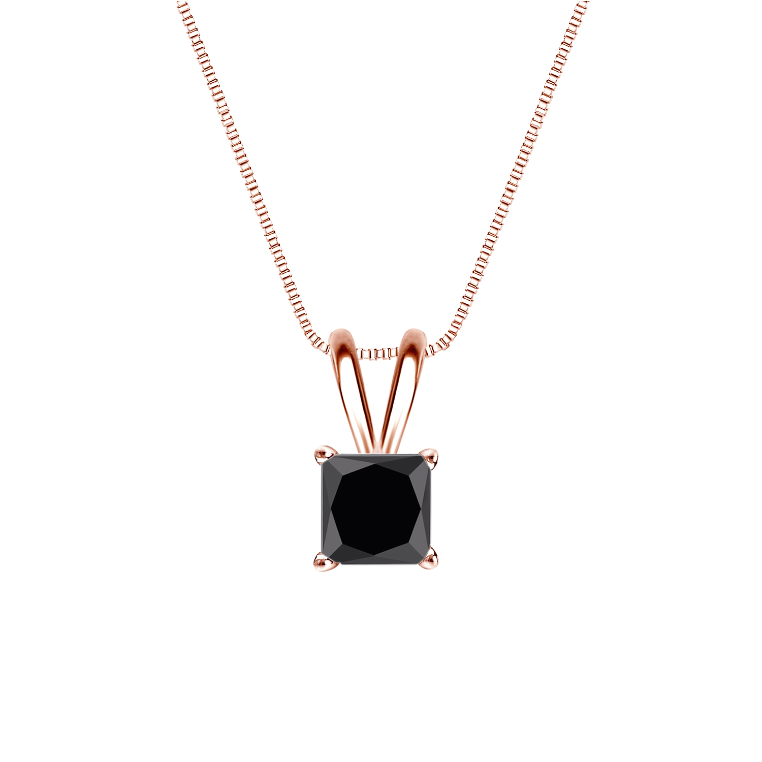 Certified 0.25 ct. tw. Princess Black Diamond Solitaire Pendant in 14k Rose Gold 4-Prong Basket (AAA)