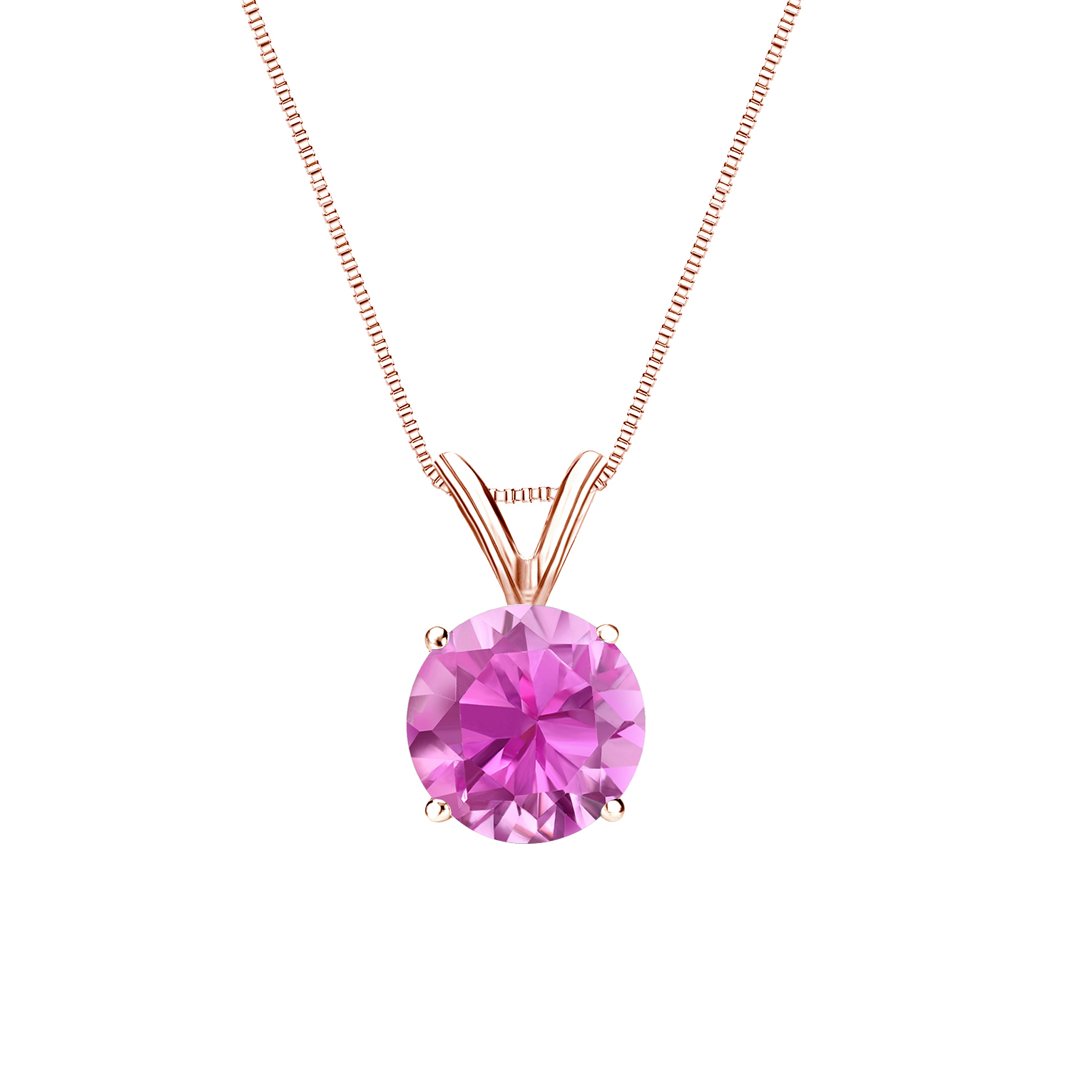 Certified 0.20 ct. tw. Round Pink Sapphire Gemstone Solitaire Pendant in 14k Rose Gold 4-Prong Basket (Pink, AAA)