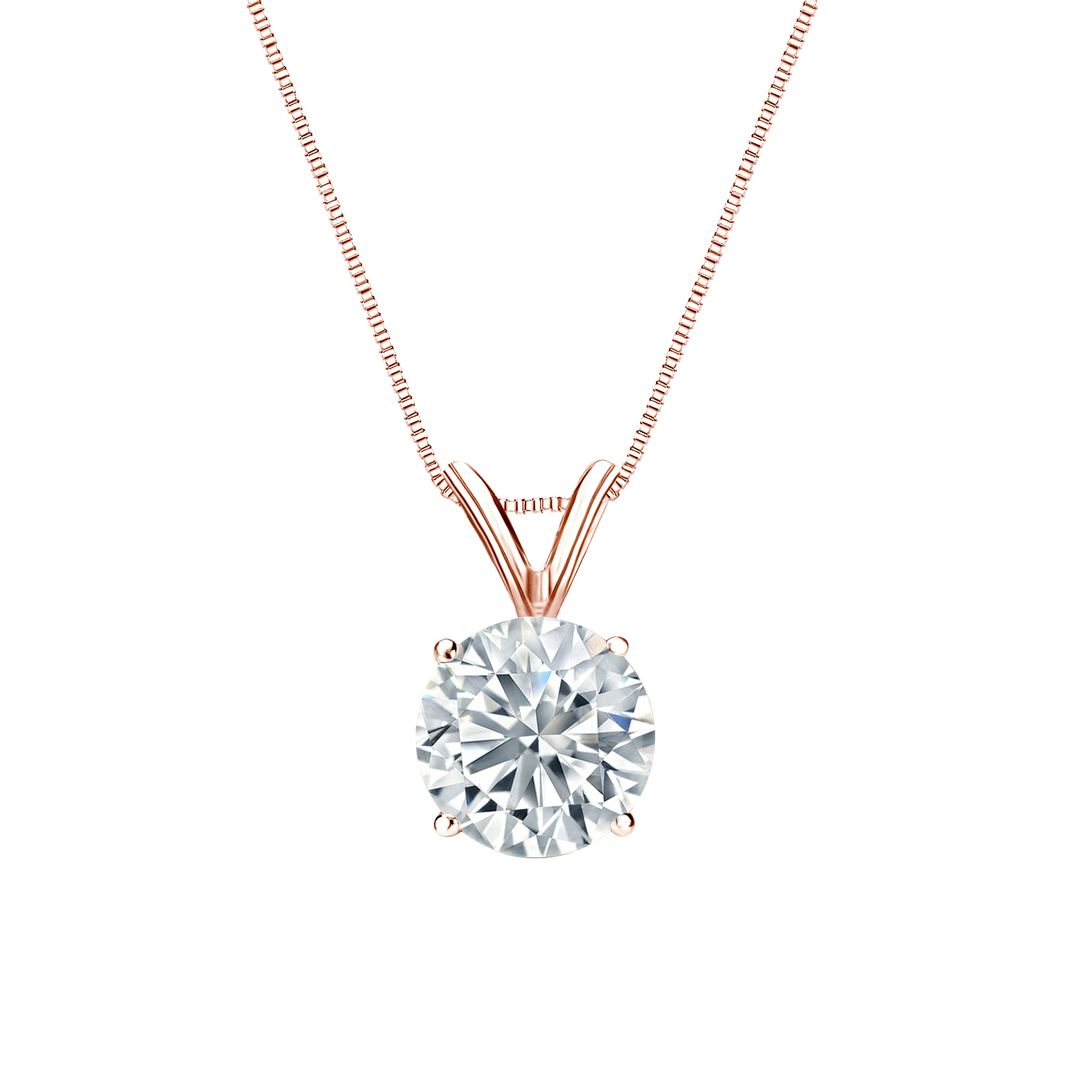 Certified 0.50 ct. tw. Round Diamond Solitaire Pendant in 14k Rose Gold 4-Prong Basket (I-J, I1)