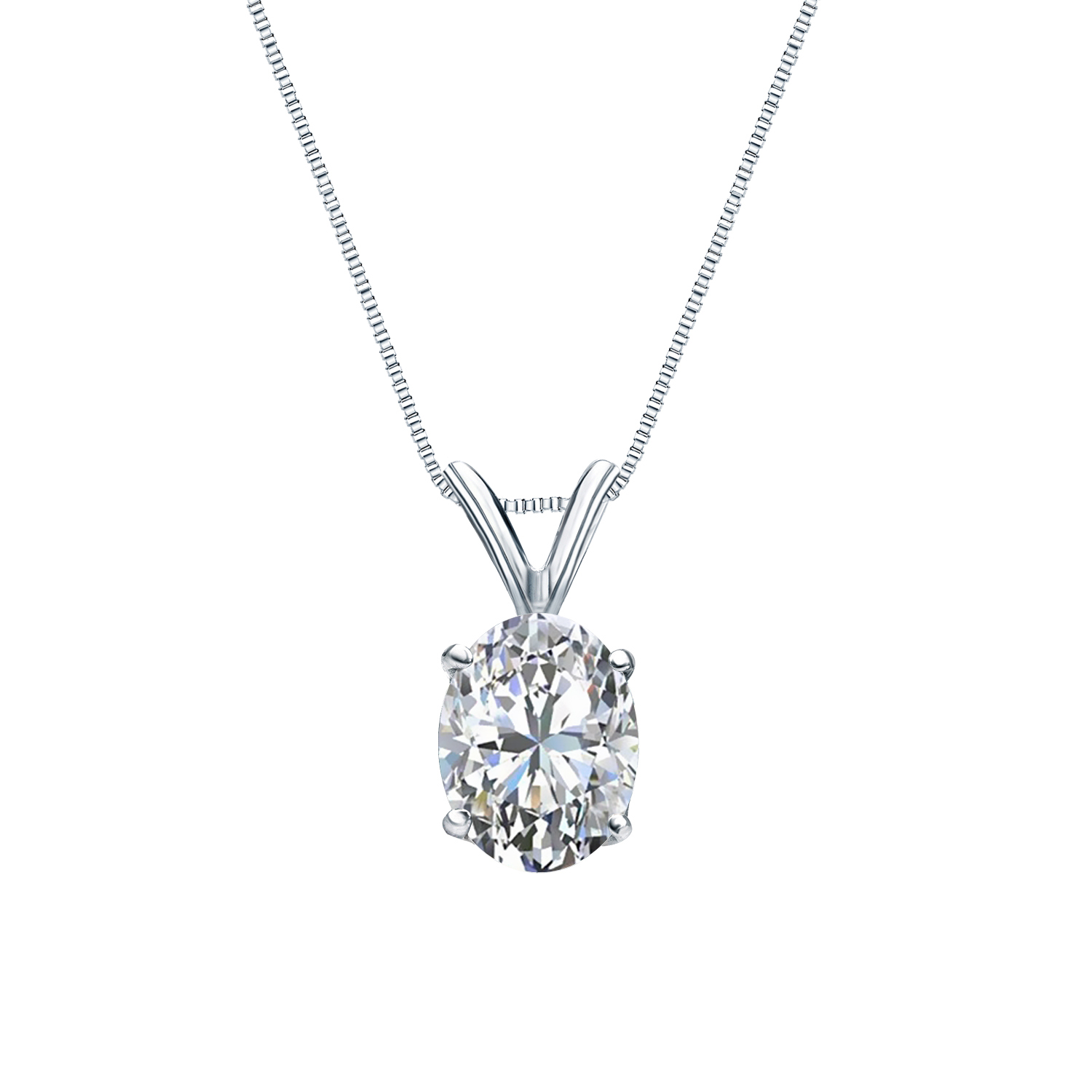 Certified 0.25 ct. tw. Oval Diamond Solitaire Pendant in 14k White Gold 4-Prong Basket (G-H, SI)